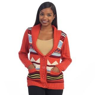 Hadari Women's Red Tribal Knit Cardigan