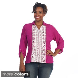 Hadari Women's Plus Size Button-up Crochet Front Top