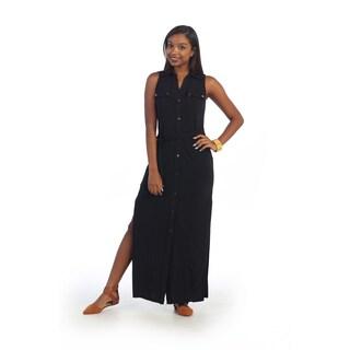 Hadari Women's Black Sleeveless Collar Maxi Dress