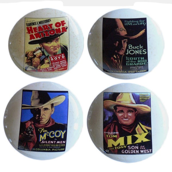 Early Cowboy Movie Stars 4-piece Plate Set