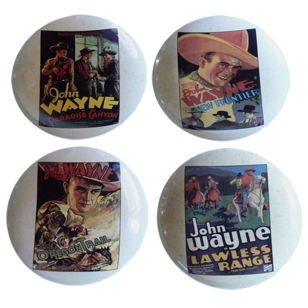 John Wayne Western Movie Poster 4-piece Plate Set