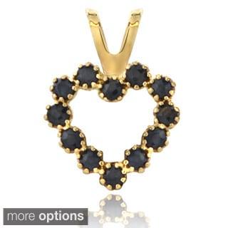 Glitzy Rocks 14k Yellow Gold Sapphire or Ruby Heart Pendant