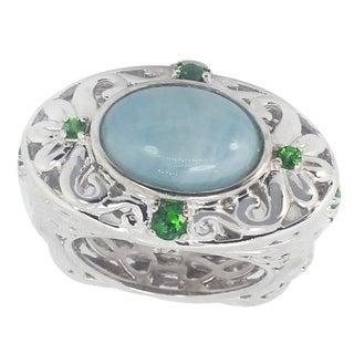 Dallas Prince Sterling Silver Milky Aquamarine Chrome Diopside Filigree Ring