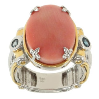 Michael Valitutti Two-tone Salmon Coral and London Blue Topaz Ring