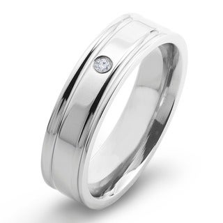 Crucible Titanium Diamond Accent Comfort Fit Wedding Band Ring