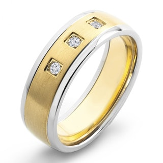 Crucible Two Tone Dual Finish Titanium 1/10 CTTW Diamond Accent Grooved Comfort Fit Ring - 7mm Wide