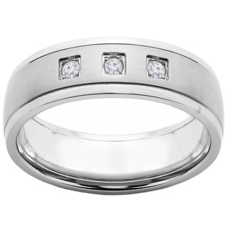 Crucible Titanium 1/10ct TDW Diamond Accent Brushed Comfort Fit Band Ring (H-I, SI2)