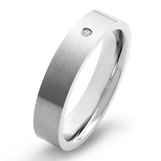 Crucible Titanium White Diamond Accent Brushed Flat Comfort Fit Band Ring