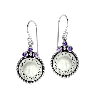 Handmade Bali Sterling Silver Lacy Moon Face with Amethyst Earrings (Indonesia)