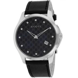 Gucci Men's YA126305 G-Timeless Black Leather Watch