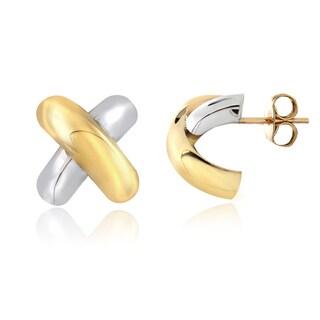 Mondevio 14k Two-tone Gold X Stud Earrings