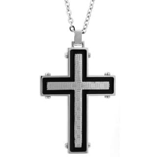 Stainless Steel Woven Black Resin Cross Pendant