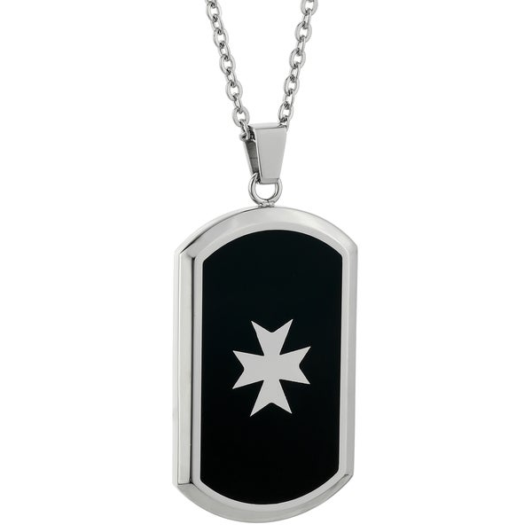 Stainless Steel Maltese Cross Dog Tag Pendant