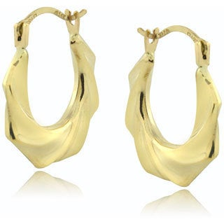Mondevio 14k Yellow Gold Twist Hoop Earrings