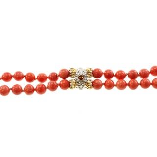 Michael Valitutti Two-tone Salmon Coral and Madiera Citrine Double-strand Bracelet