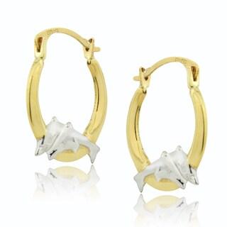 Mondevio 14k Two-tone Gold Dancing Dolphin Hoop Earrings