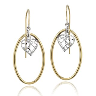 Mondevio 14k Two-tone Gold Oval Dangle Earrings