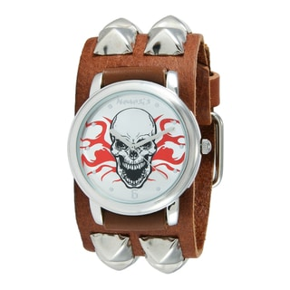 Nemesis Men's Flaming Skull Brown Pyramid Studded Leather Cuff Watch