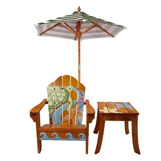 Kid's Winland Sea Turtle Outdoor Wood Table and Chair Set