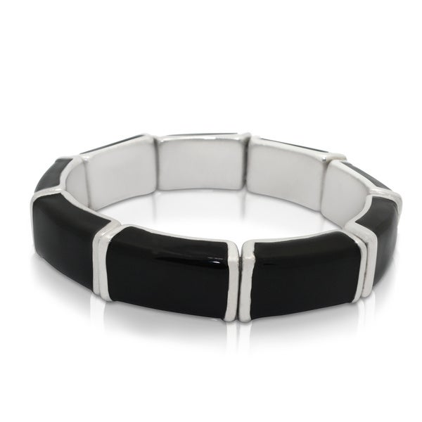 Gioelli Sterling Silver Black Enamel Bangle Bracelet