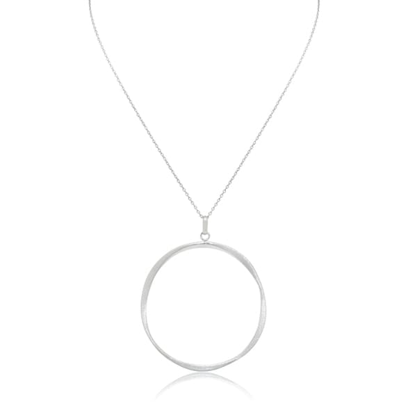 Gioelli Sterling Silver Artisan Open Circle Pendant Chain Necklace