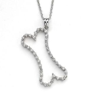 Diamonds For A Cure 14k White Gold 3/5ct TDW Diamond Dog Bone Pendant (H-I, SI1-SI2)