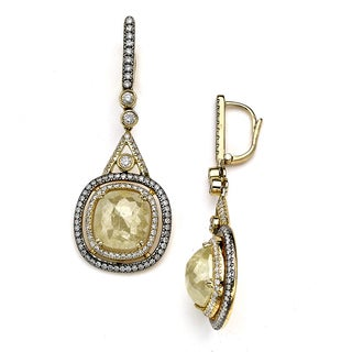 Diamonds for a Cure 18k Yellow Gold 11 1/5ct TDW Rough Diamond Drop Earrings (H-I, SI1-SI2)
