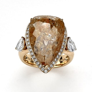 DFAC 18k Rose Gold 13ct TDW Pink Diamond Pear Shape Ring (H-I, I2-I3)