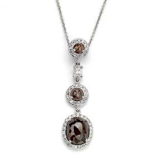 Diamonds for a Cure 18k White Gold 6 2/5ct TDW Rough Diamond Linear Pendant (H-I, SI1-SI2)