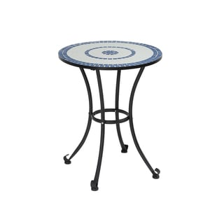 Furniture of America Spector Blue Mosaic and Iron Bistro Table