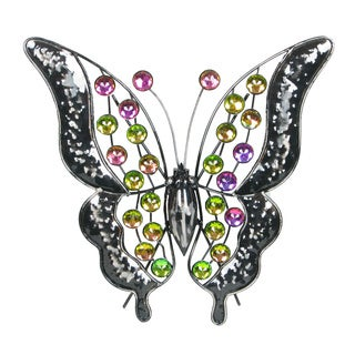 13-inch Rainbow Bling Butterfly Metal Wall Decor