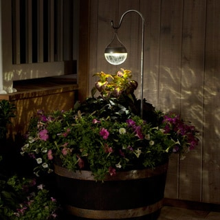 4-inch Glass Solar Spotlight with 36-inch Copper Hook