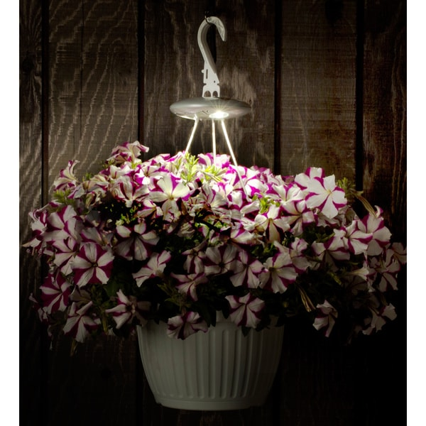 White Hanging Basket Solar Spotlight Hook