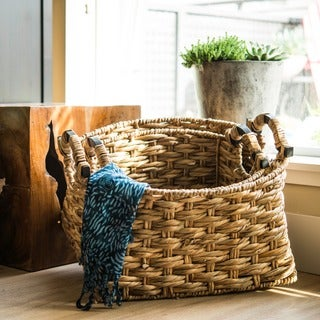 Set of 3 Water Hyacinth Giuliana Nesting Baskets (Vietnam)
