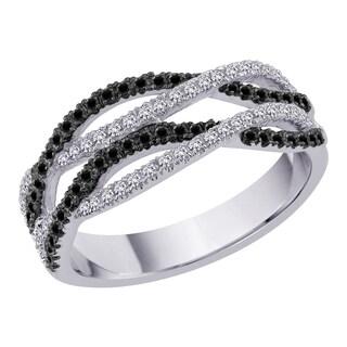 10k White Gold 2/5ct TDW Black and White Diamond Twist Crossover Style Ring (G-H, I2-I3)