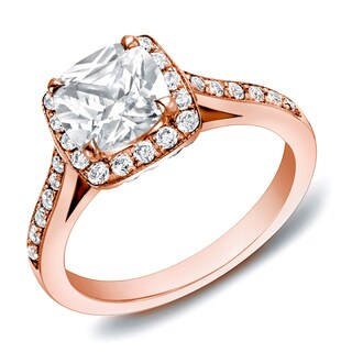 Auriya 14k Rose Gold 2ct TDW Certified Cushion-cut Diamond Ring (H-I, SI1-SI2)