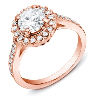 Auriya 14k Rose Gold 1 1/3 ct TDW Scalloped Halo Diamond Ring (H-I, SI1-SI2)