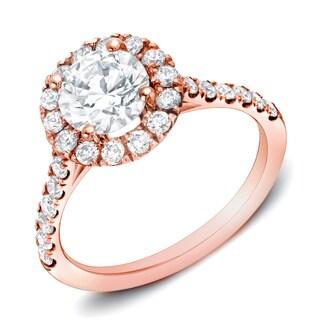 Auriya 14k Rose Gold 1 1/2 ct TDW Certified Round Diamond Halo Engagement Ring (H-I, SI1-SI2)