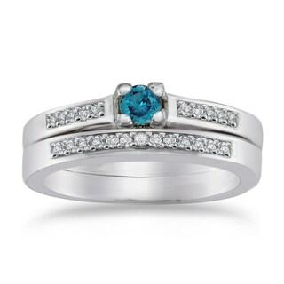 Auriya 10k Gold 1/4ct TDW Blue Diamond Bridal Set (Blue, I1-I2)