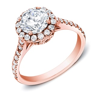 Auriya 14k Rose Gold 1 3/4 ct TDW Certified Halo Diamond Ring (H-I, SI1-SI2)