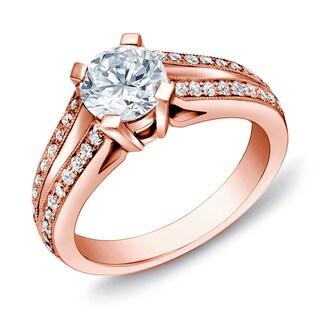 Auriya 14k Rose Gold 1 1/4 ct TDW Certified Round Diamond Ring (H-I, SI1-SI2)