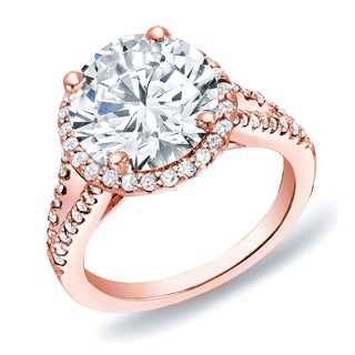 Auriya 14k Rose Gold 1 3/4 ct TDW Certified Round Halo Diamond Ring (H-I, SI1-SI2)