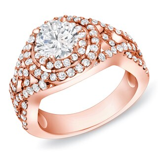 Auriya 14k Rose Gold 1 1/2 ct TDW Round Diamond Ring (H-I, SI1-SI2)
