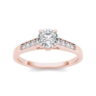 De Couer 14k Rose Gold 1/2ct TDW Diamond Engagement Ring (H-I, I2) with Bonus Necklace