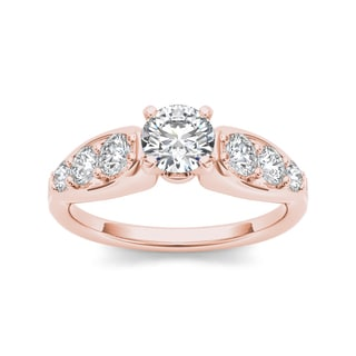 De Couer 14k Rose Gold 3/4ct TDW Diamond Engagement Ring (H-I, I1-I2)