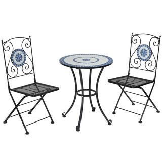 Furniture of America Spector Blue Mosaic 3-Piece Cast Iron Bistro Set