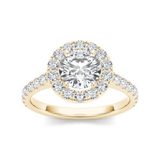 De Couer 14k Yellow Gold 1 1/2ct TDW Diamond Engagement Ring (H-I, I1-I2)