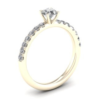 De Couer 14k Yellow Gold 3/4 ct TDW Diamond Classic Engagement Ring (H-I, I2)