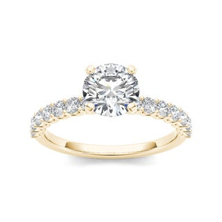 De Couer 14k Yellow Gold 1ct TDW Diamond Engagement Ring (H-I, I1-I2)