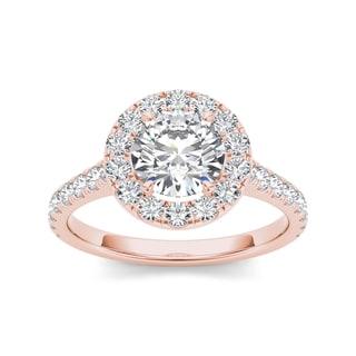 De Couer 14k Rose Gold 1 1/2ct TDW White Diamond Engagement Ring (H-I, I2)